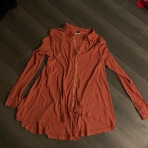 Free people long sleeve collared button up shirt